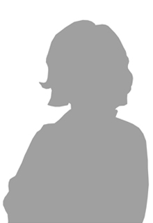 A gray silhouette of a woman from the torso up