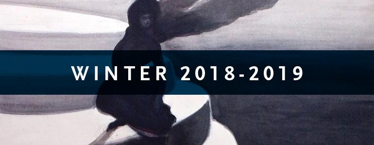 Winter 2018-2019 cover featuring a painting of a woman in a dress