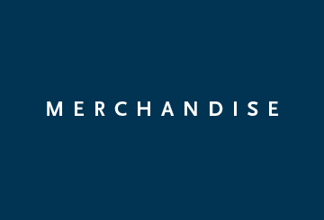 A blue rectangle with the word: Merchandise.