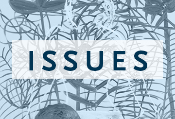 A blue rectangle with a floral pattern and the word: Issues.