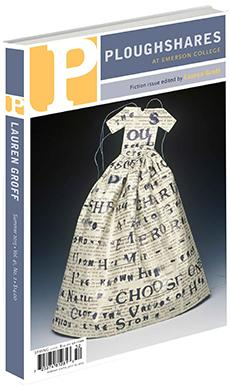 A journal cover with a paper dress with letters written all over it and a black background
