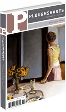 A journal cover: painting of a girl facing away from a set table with sunflowers on it
