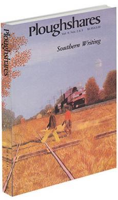 A journal cover: colored painting of two men walking across a field by a train track