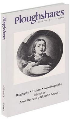A journal cover with purple text and a black and white drawing of a young woman