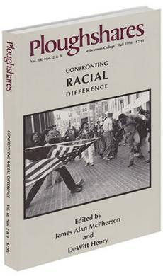 journal cover: black and white picture of a white man aiming an American flag at a black man