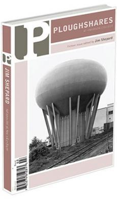 A journal cover with a black and white image of a water tower near railroad tracks