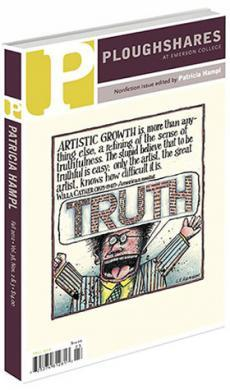 "A journal cover of a cartoon man shouting, ""TRUTH"" in a speech bubble"