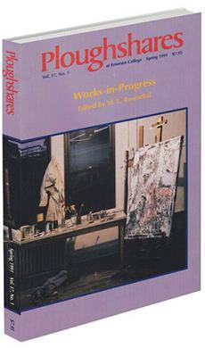 A journal cover of a photograph of an artist's studio with a purple background