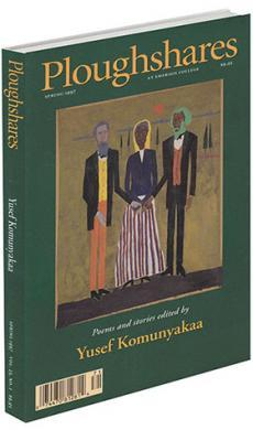 A journal cover of artwork depicting three people holding hands in front of a green background