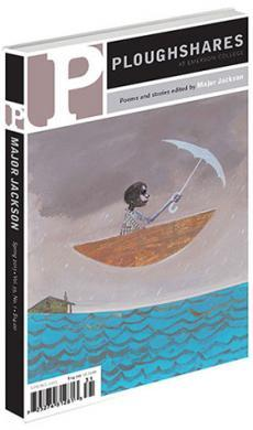 A journal cover with artwork of a person in a boat with an umbrella floating above the water
