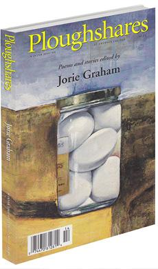 A journal cover of artwork of stones in a glass jar, sitting outside on a dirt path