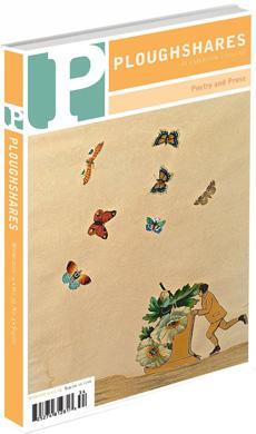 A journal cover: man pushing a sled full of flowers with butterflies flying above him