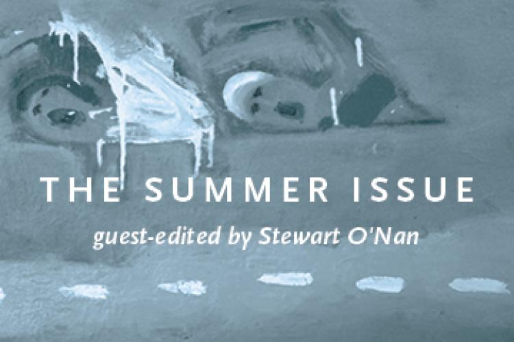 "Painting of two people swimming with the text ""THE SUMMER ISSUE"" overlaid."