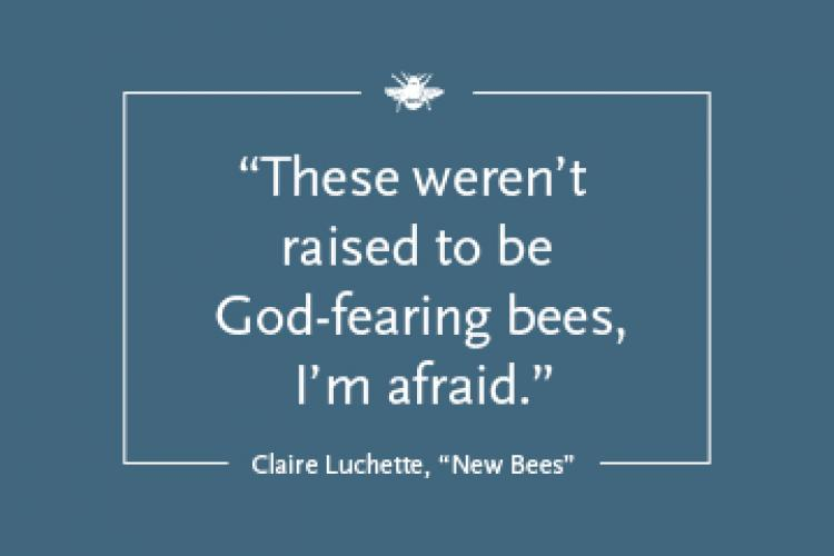 """Blue square with the text """"'These weren't raised to be God-fearing bees, I'm afraid.' from 'New Bees' by Claire Luchette"""""""