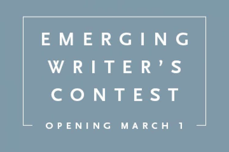 """Blue square with the text """"Emerging Writer's Contest Opening March 1"""""""