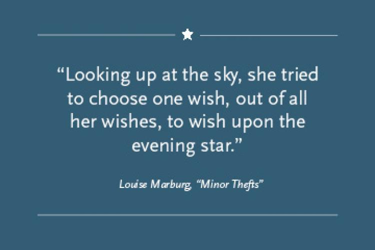 """Blue square with the text """"'Looking up at the sky, she tried to choose one wish, out of all her wishes, to wish upon the evening star.' by Louise Marburg"""""""