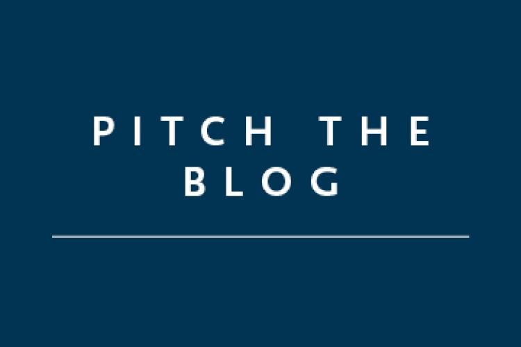 "Blue square with the text ""Pitch the Blog"""