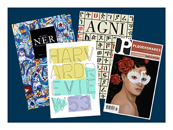 a blue square with the cover art of spring 2018 issues of Ploughshares, Agni, Harvard Review, and New England Review